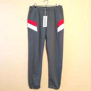 Wildfox Knox Grey and Red Joggers—L